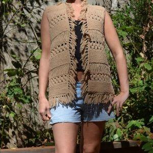 Vintage Vest Handmade Crochet Knit Fringe Boho
